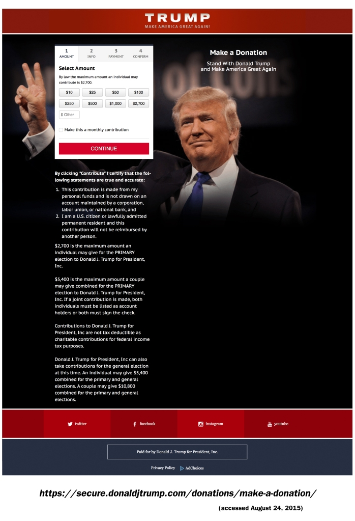 Donald J. Trump for President, Inc donation page